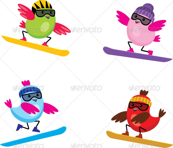 Birds on Snowboards - Sports/Activity Conceptual