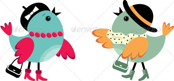 Fashionable Birdies - Animals Characters