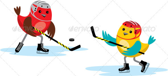 Birds Playing Hockey - Sports/Activity Conceptual