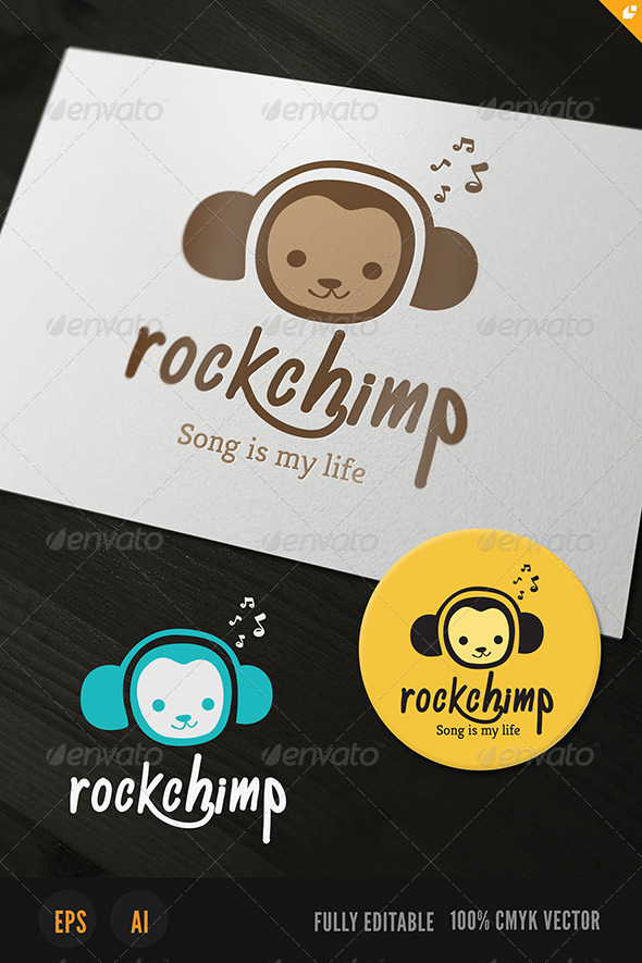 Rock Chimp Logo - Animals Logo Templates