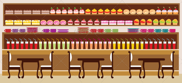 Cafe Setting - Vector Illustration - Food Objects