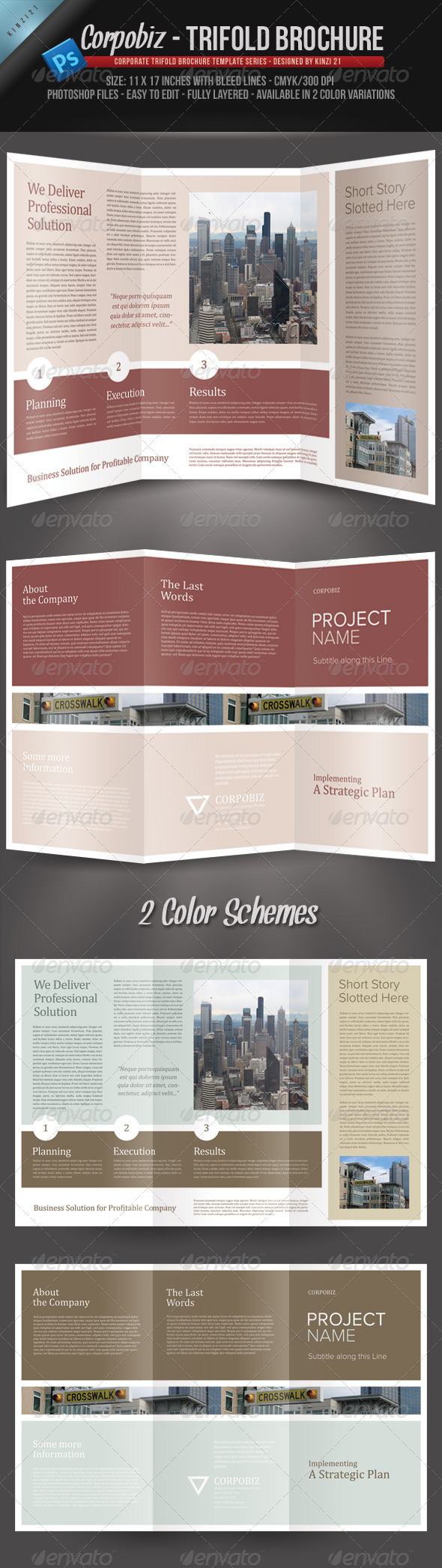 Corpobiz Trifold Brochure - PSD Template - Corporate Brochures