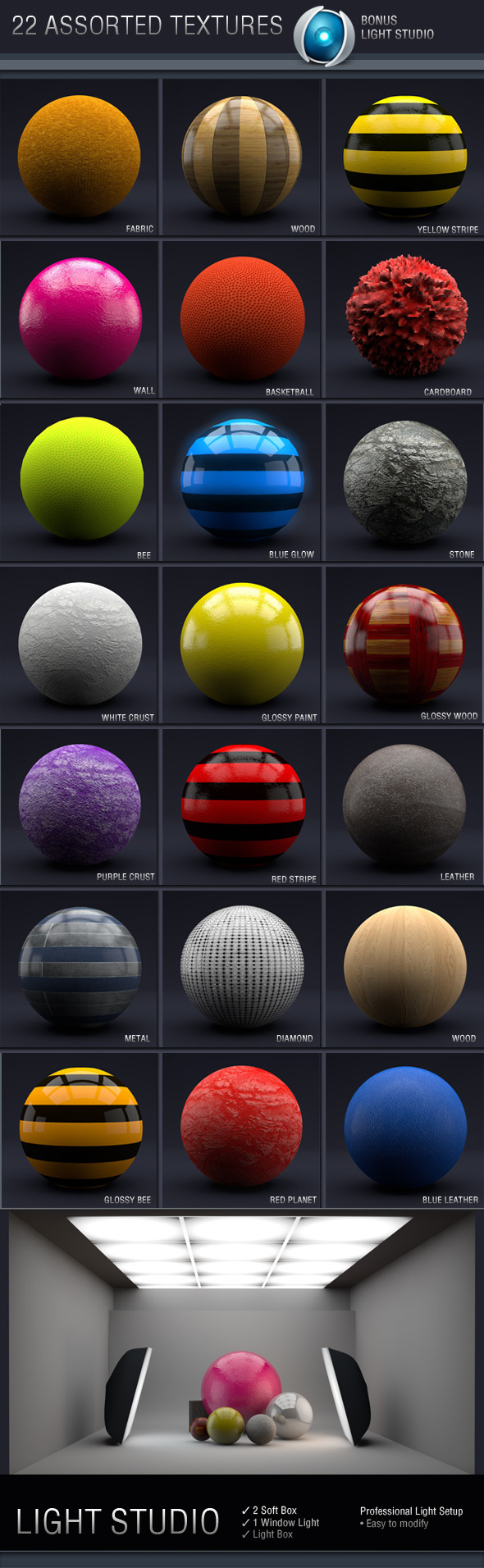 C4D Assorted Textures - 3DOcean Item for Sale