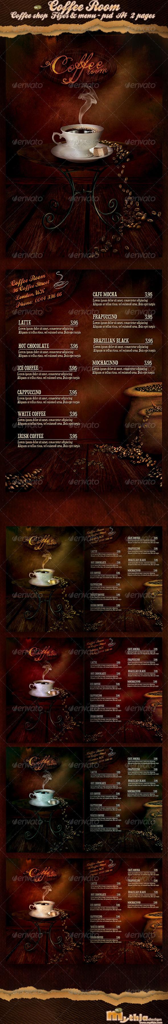 Coffee Room - Coffee Shop Flyer & Menu  - Food Menus Print Templates
