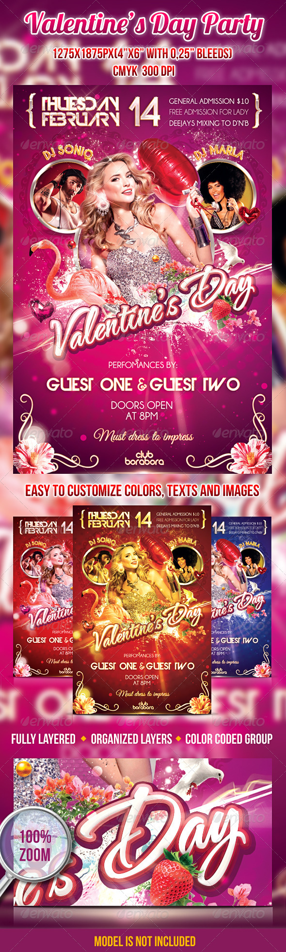 Valentine's Day Party Psd Flyer Template - Clubs & Parties Events