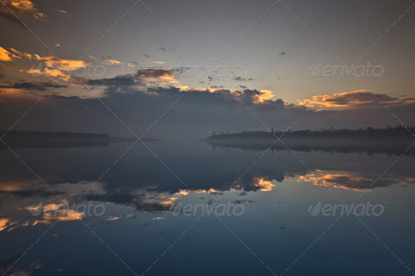 clouds on lake - Stock Photo - Images