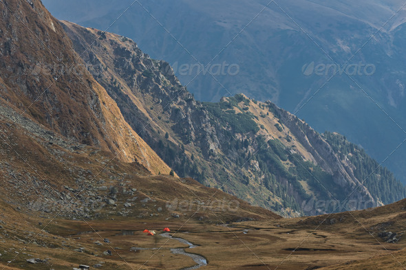 mountain camping site - Stock Photo - Images