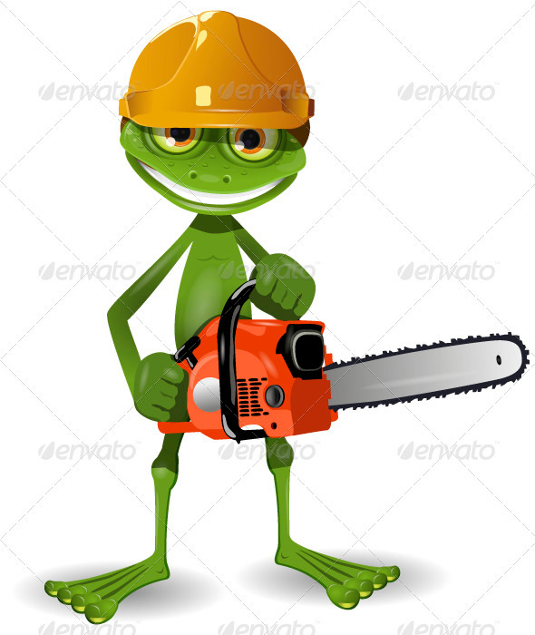 Frog with a chainsaw - Animals Characters