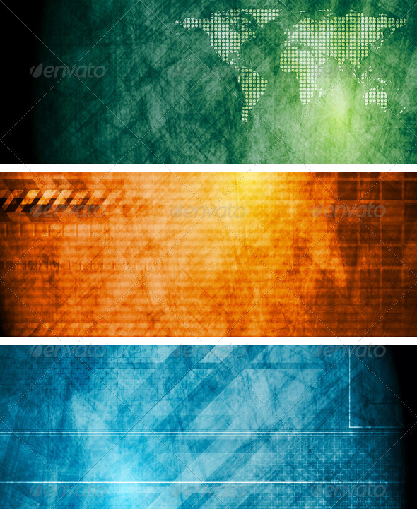 Vintage vector hi-tech banners - Backgrounds Decorative