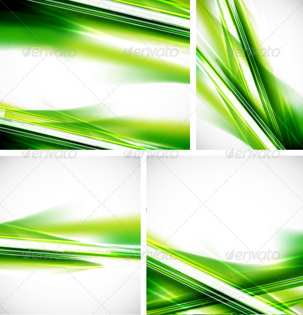 Glowing Green Lines Backgrounds Set - Backgrounds Decorative