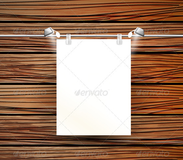 Vector Picture Frame on Wooden Wall - Objects Vectors