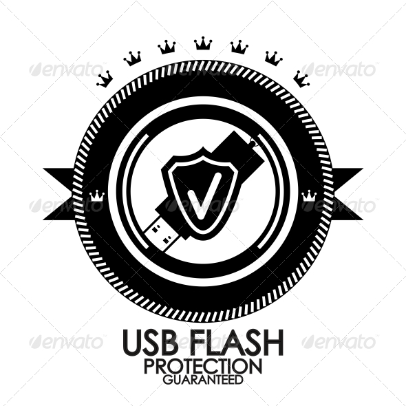 Black retro vintage label | tag | badge | usb flas - Web Elements Vectors