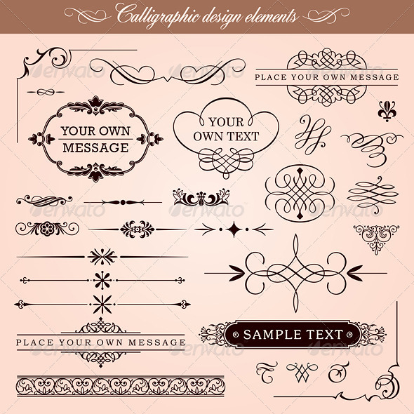 Vector Calligraphic Design Elements And Frames - Borders Decorative