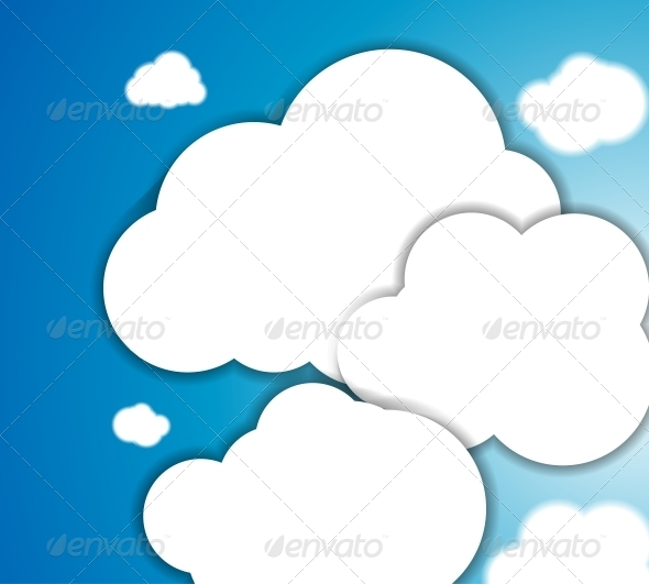 White clouds in the blue clear sky. Vector backgro - Backgrounds Decorative