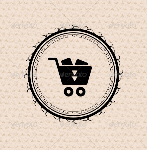 Vintage retro label | tag | badge : shopping cart  - Retail Commercial / Shopping