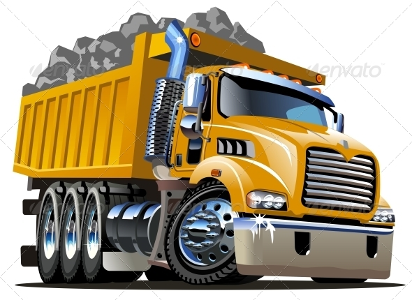 Vector Cartoon Dump Truck - Man-made Objects Objects