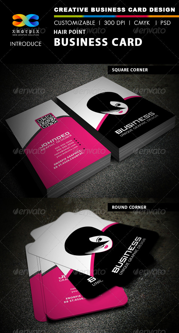 Hair Point Business Card - Industry Specific Business Cards