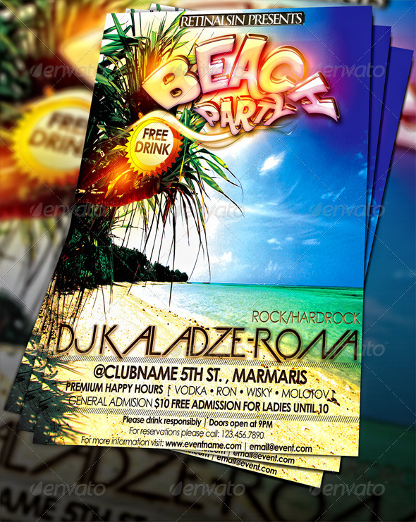 Beach Party Flyer Template By Mexelina | Graphicriver