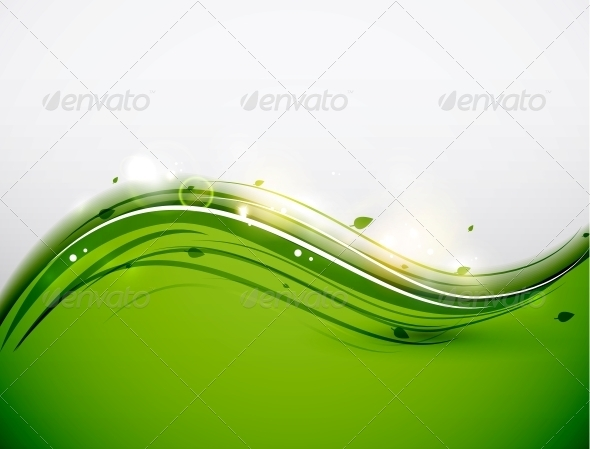 Green Floral Wave Abstract Background - Backgrounds Decorative