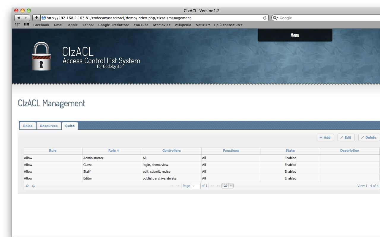 CodeIgniter ACL User Management