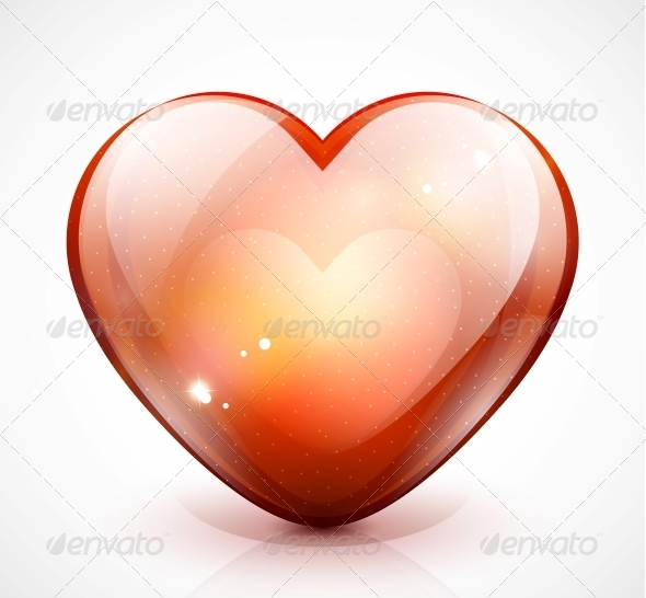 Glossy Valentine's Heart - Vector Illustration - Valentines Seasons/Holidays