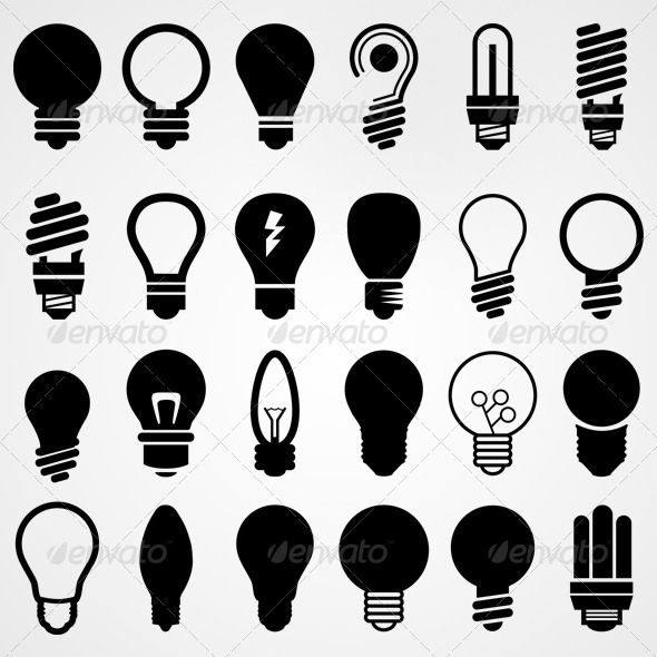 Lightbulbs Silhouettes Set - Man-made Objects Objects
