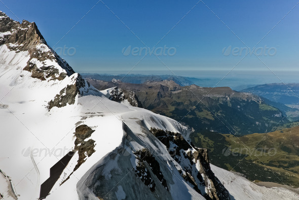Glacier on the top of Jungfrau - Stock Photo - Images