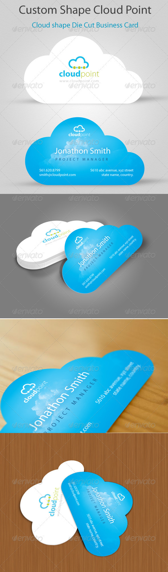 Cloud point custom shape die cut business card by dklipi cloud point custom shape die cut business card creative business cards reheart