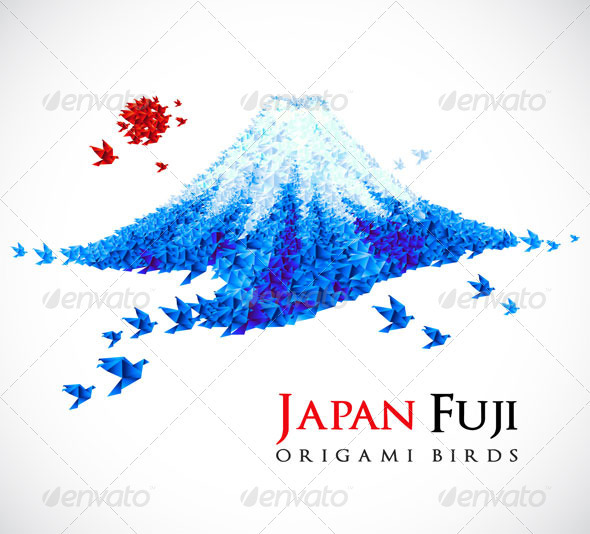 Origami - Fuji mount - Abstract Conceptual