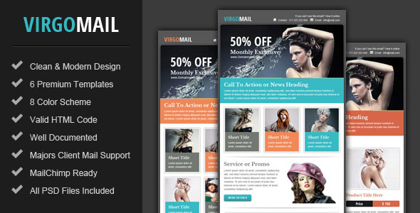 Virgomail Email Marketing Newsletter Template By Pophonic - Web design email marketing templates