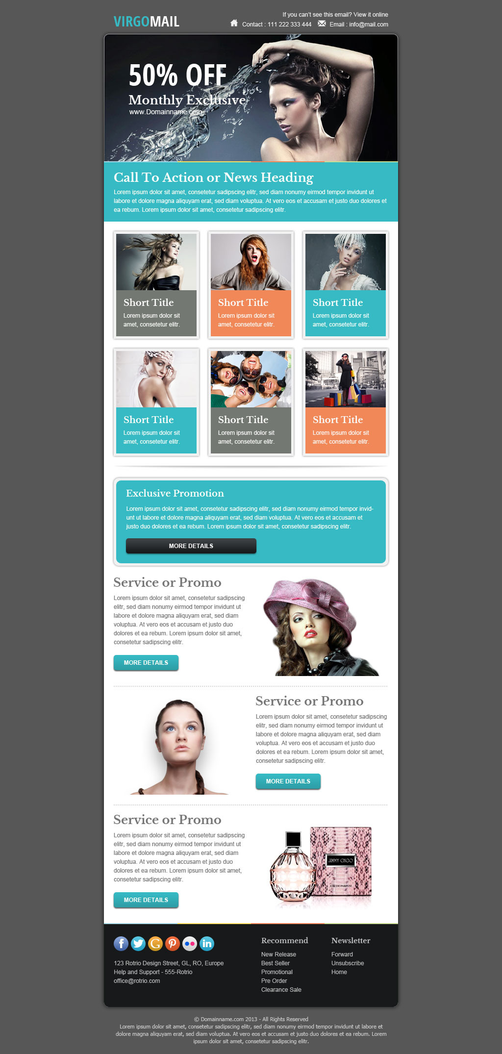 Virgomail email marketing newsletter template by for Free promotional email templates