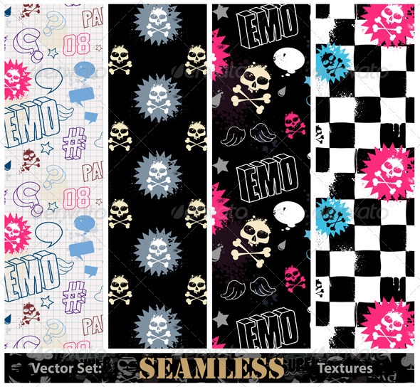 Vector set of stylish emo seamless textures - Vectors
