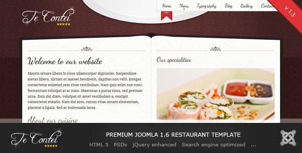 te contei joomla 1 6 restaurant template by demente design