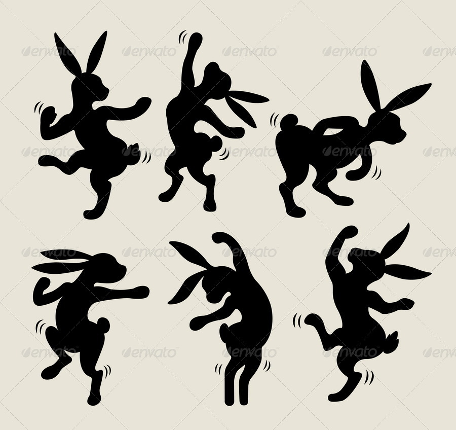 dancing rabbit cartoon silhouette by comicvector703