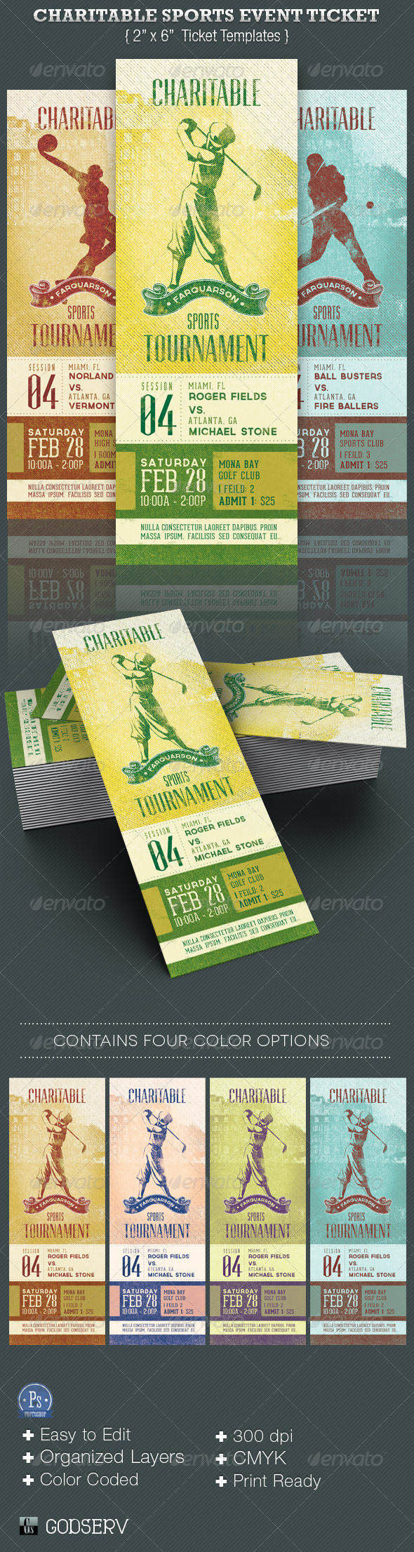 Charitable Sports Event Ticket Template - Miscellaneous Print Templates