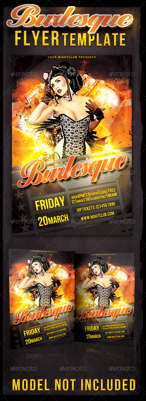 Burlesque Flyer Template - Clubs & Parties Events
