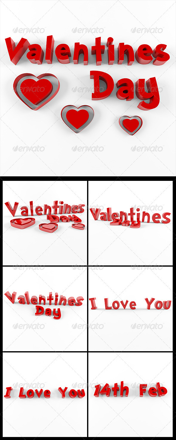 3D Valentine's day pack - Text 3D Renders