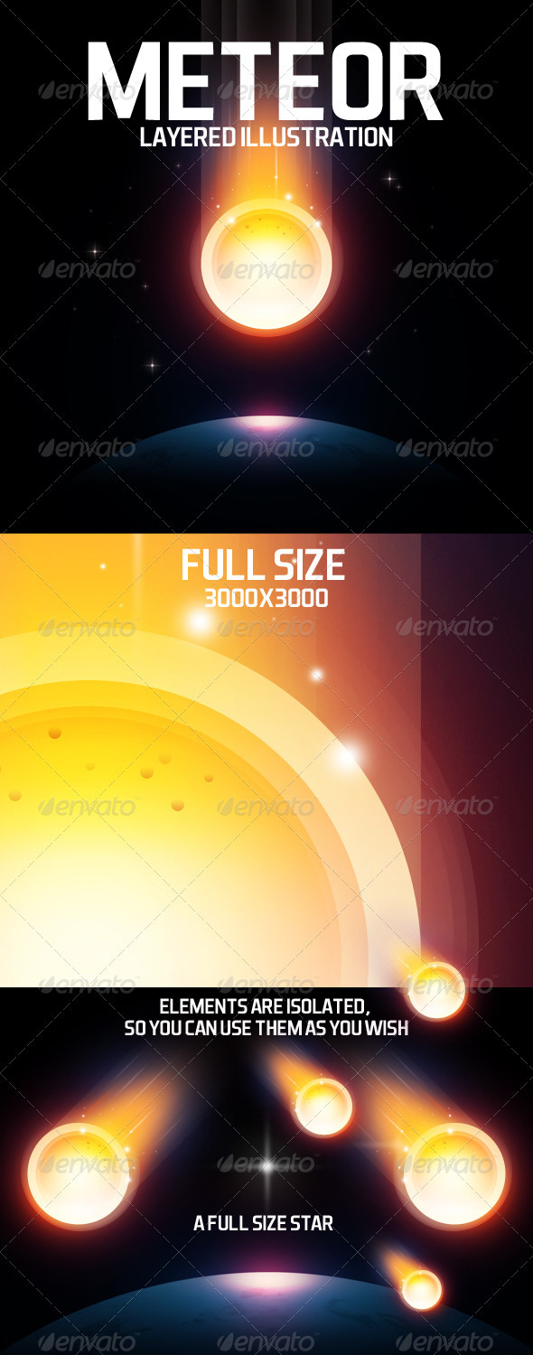 Meteor layered illustration  - Backgrounds Graphics