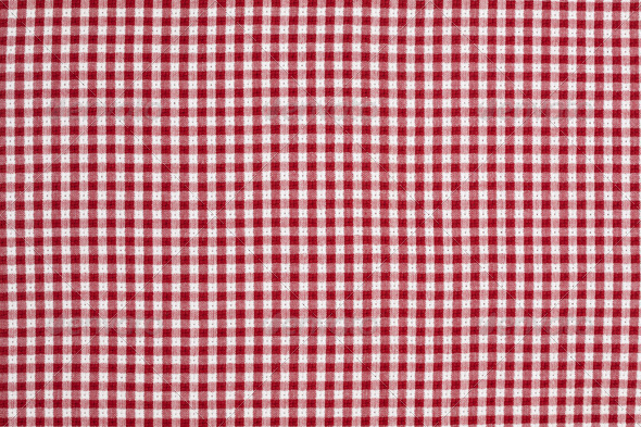 Red and White Gingham Checkered Tablecloth - Fabric Textures
