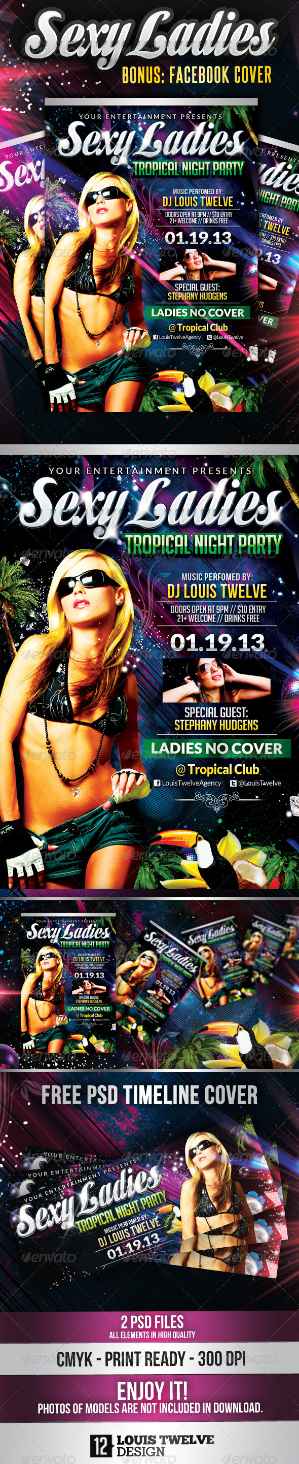 Sexy Ladies Tropìcal Night | Flyer + FB Cover - Clubs & Parties Events