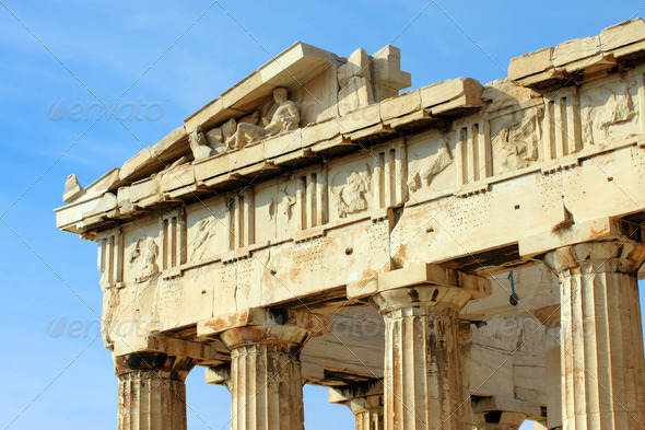 Detail of the Parthenon in Athen - Stock Photo - Images