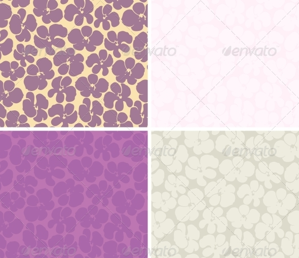 Seamless background with orchids - Patterns Decorative