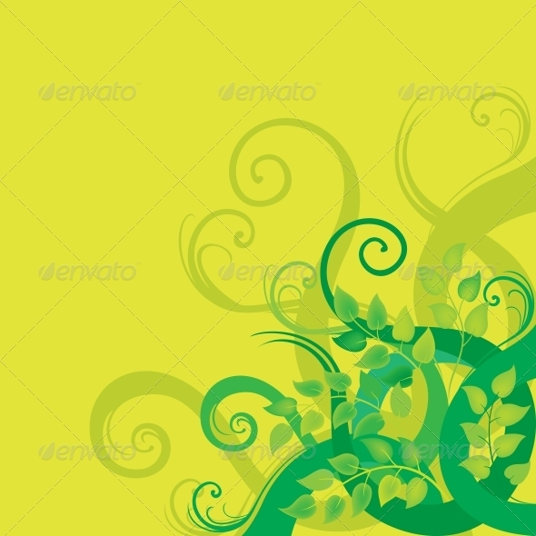 Green decorative floral background - Flowers & Plants Nature