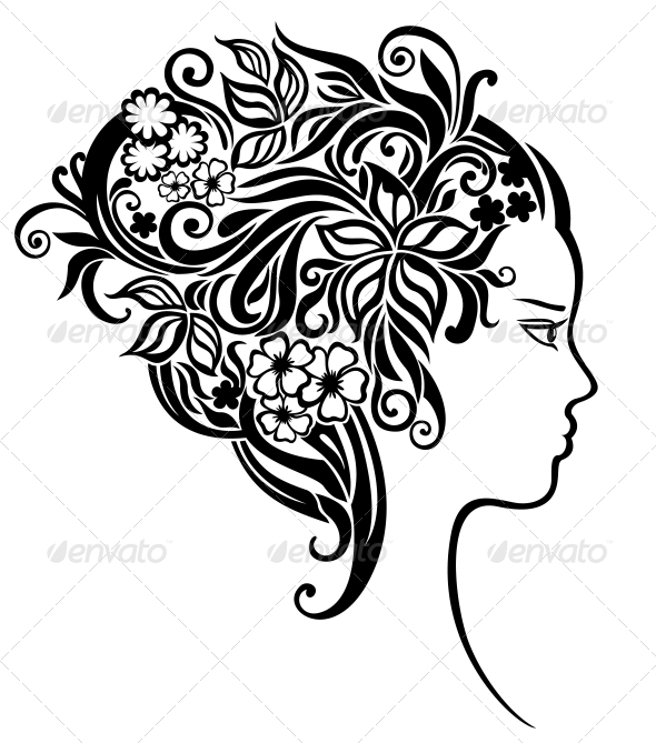 Girl with a beautiful flowers in her hair - People Characters