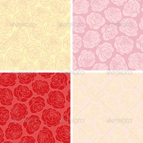 Seamless background with roses - Patterns Decorative