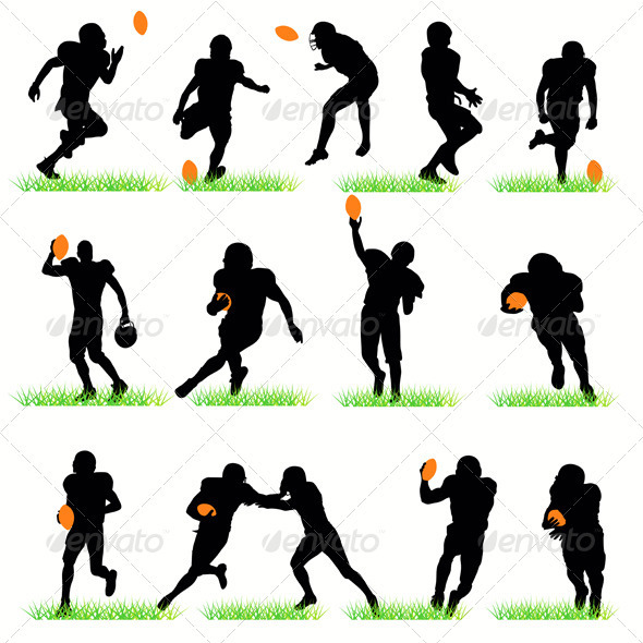 American Football Players Silhouettes Set - People Characters
