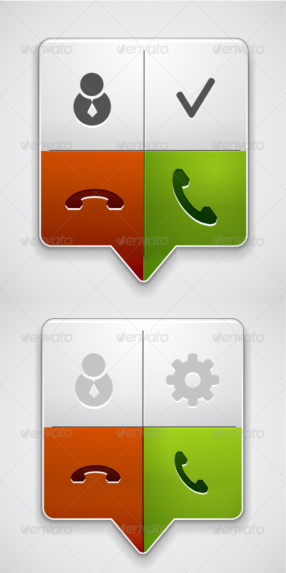 Vector Metal Phone Call Pointer - Web Elements Vectors