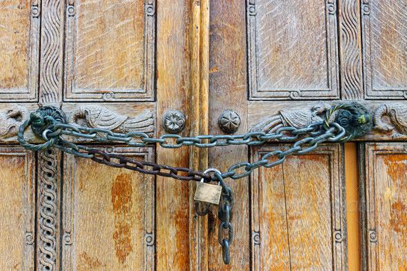 Locked wooden door - Stock Photo - Images