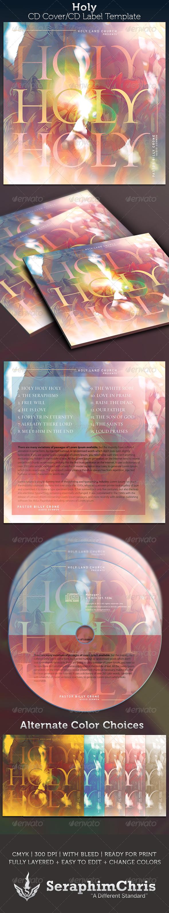 Holy, Holy,Holy CD Cover Artwork Template - CD & DVD Artwork Print Templates