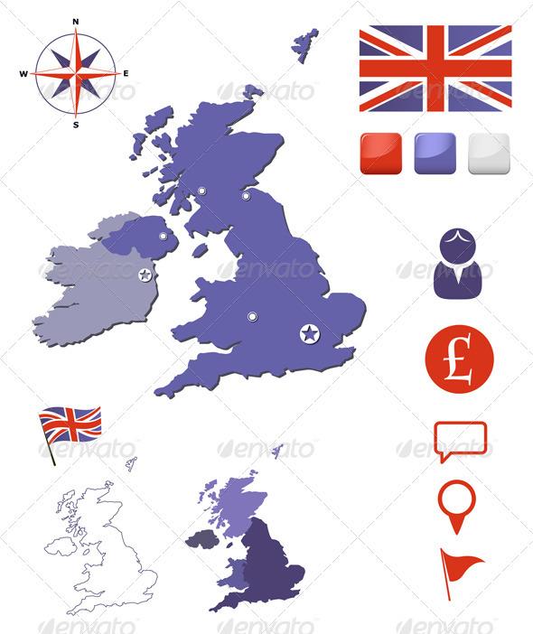 United Kingdom Map And Icons Set - Web Elements Vectors